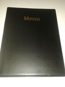 QTY 10 (TEN)A4 MENU COVER/FOLDER IN BLACK LEATHER LOOK PVC