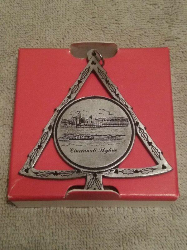 Vintage Cincinnati Skyline Pewter Ornament/Charm CPI Cincinnati. Heavy, In Box