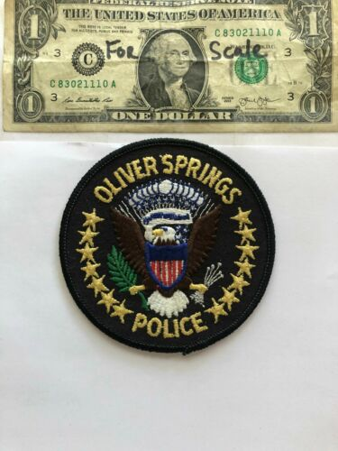 Very Rare Oliver Springs Tennessee Police patch Un-sewn great shape