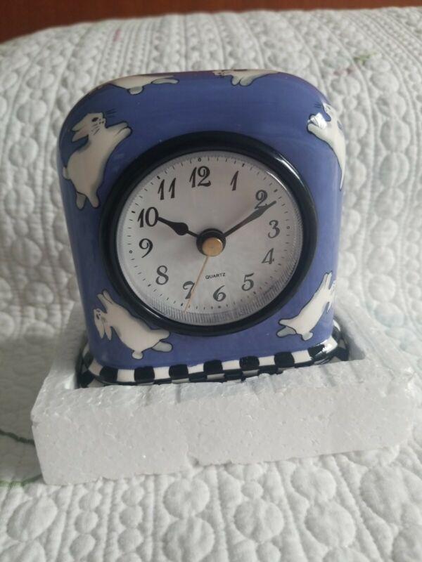 PATRICIA DUPONT (RARE) Ceramic Clock /Dancing Bunnies. Hand painted 2000