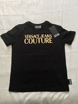 *NEW AUTHENTIC* VERSACE JEANS COUTURE BLACK GOLD FOIL LOGO T-SHIRT SIZE UK SMALL