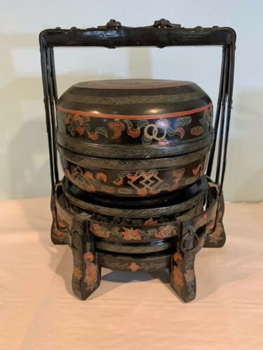"Antique 21"" Chinese Metal and Wood Wedding Basket with Chinese Lady b384"
