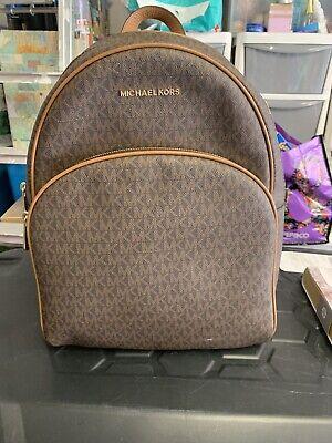 Michael Kors Jet Set Large Backpack Ruck Sack Bag Monogram MK Logo brown