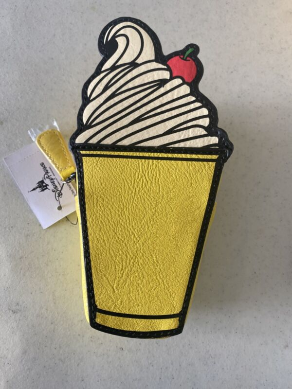 Disney Parks Pineapple Dole Whip Ice Cream Coin Purse Change Pouch Bag New