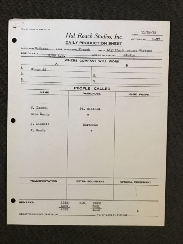Laurel And Hardy. - Original 1928.  Call Sheet -  Hal Roach