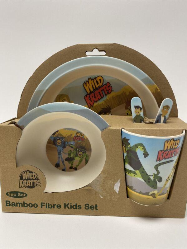Wild Kratts Bamboo Fiber Kids 5 Pc Mealtime Set NWT