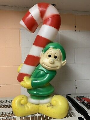 """Vintage Elf Candy Cane Plastic Blow Mold Outdoor Christmas Decor 32"""" Lightup"""
