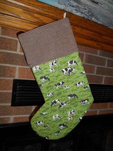 BLACK & WHITE COWS IN FIELD, COW HANDMADE CHRISTMAS STOCKING