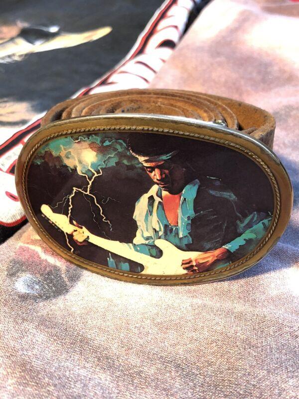 Rare Orig Vtg 1970s 1977 Pacifica Jimi Hendrix Belt Buckle Experience Band Rock