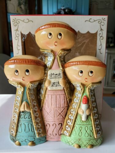 Vintage A STAR CREATION Musical Trio Christmas Carolers with Original Box