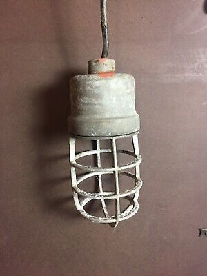 Vintage Explosion Proof Soviet Caged Industrial Light Fixtures QTY-4 ps.