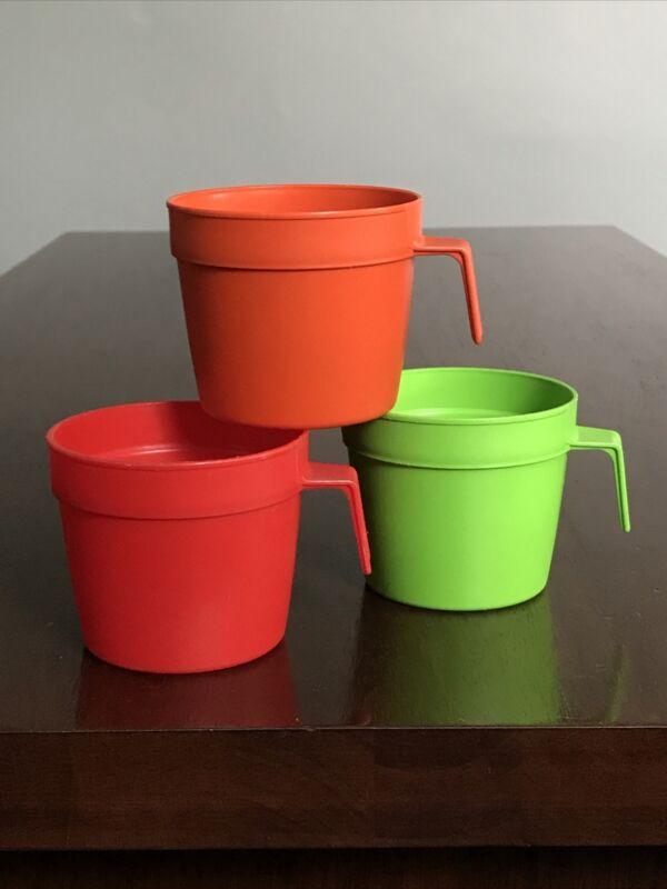 3 Vintage Nu Maid Satin Soft Margarine Cups Mugs Lot Butter Orange Green Red