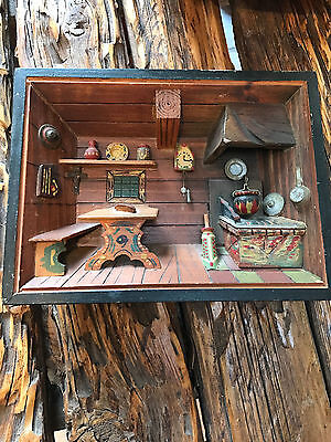 Vintage Wooden Diorama Old Country Kitchen