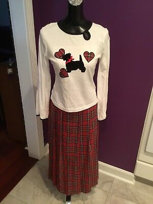 Copper Key Red And Green Plaid Dog Outfit Size 14 Kids Shirt And Skirt](Red And Green Outfit)