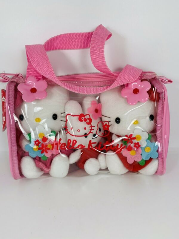 VTG Hello Kitty Pink Purse With 3 Plush Inside Flowers Bunny NWT Sanrio