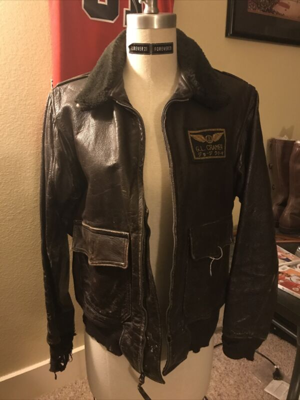 1950's Navy Aviator Flight Jacket Named With Gold Wings