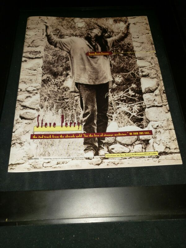 Steve Perry Young Hearts Forever Rare Original Radio Promo Poster Ad Framed!