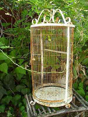 Large Birdcage Rusty Vintage Metal Parrot Bird Cage Home Garden Decor White