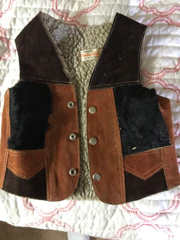Really Cool Vintage Cowhide Boy's Toddler Lamb Wool Vest
