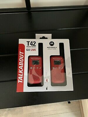 Motorola T42 Talkabout PMR446 2-Way Walkie Talkie Portable Radio's Pack of 2 Red