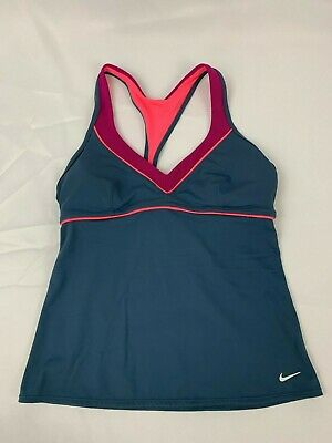 Nike Tankini Top Size 8 Medium Swim Tank V Neck T Back Womens Gray Pink Open ()