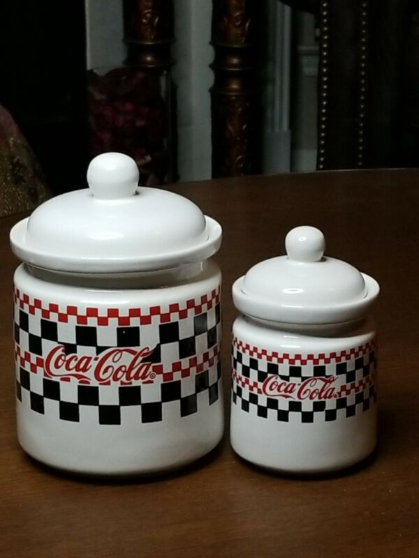 Vintage two (2) Coca Cola  Gibson Black Red White Checkered Cookie Jars  1997