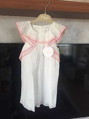 CHLOÉ CHLOE FRANCE OFF WHITE EMBROIDERED FLUTTER SLEEVE COTTON DRESS 4 BNWT $200