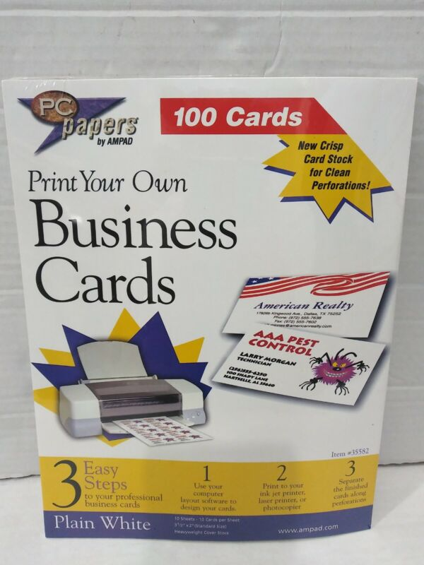 AMPAD Print Your Own Business Cards 100 Cards CONDITION IS NEW