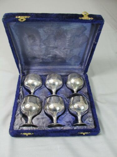Set 6 Silverplate CORDIAL CUPS in Fitted Case