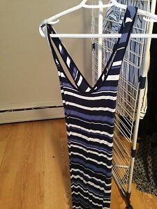 Blue striped floor length dress