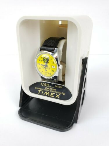 Vtg Timex Cub Scout Wrist Watch Yellow Dial Brand New in Original Box