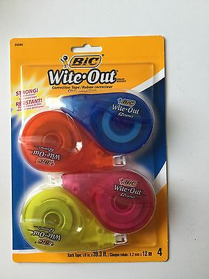 New One Pack Of 4 Bic Wite Out White Out Correction Tape 16 In X 39.3 Ft Each