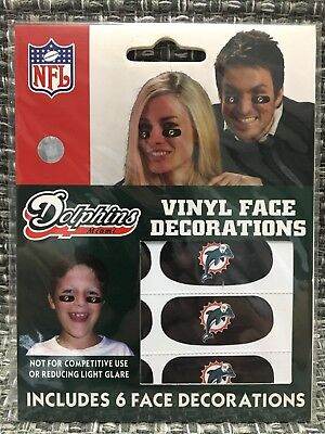 Miami Dolphins NFL 6 Pack Eye Black Strips Vinyl Face Decorations Stickers - Miami Dolphins Black Face