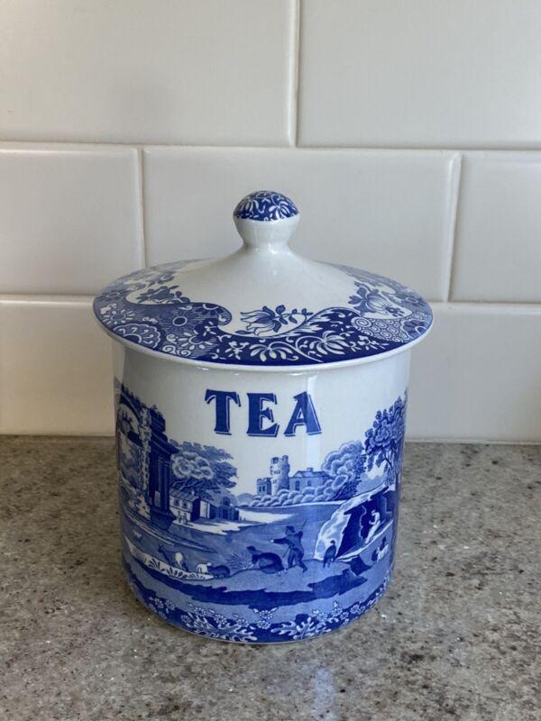 Spode Blue Italian Tea Covered Caddy British England Canister Jar NEW