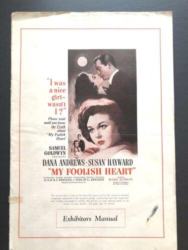 "My Foolish Heart Original Pressbook w/Insert (1949) - 20 Pages - 12"" x 18""  VG"