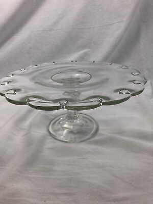 Indiana Glass Glass Cake Stand (Vintage Indiana Glass Teardrop Cake StandPedestal Plate Clear Vintage Wedding)