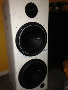 """custom built speakers with dual 10"""" subs"""