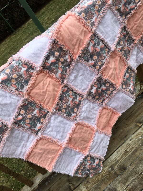 NEW! Baby, Toddler size handmade rag Quilt, Unicorns, Peach, White, Flannel, Big