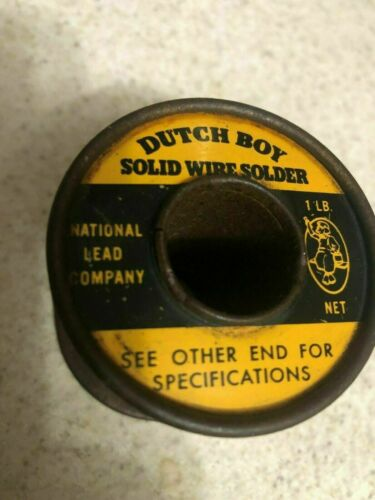 Vintage Dutch Boy Solid Wire Tin Solder Spool 50/50  Diameter#10  15 OZ LEFT