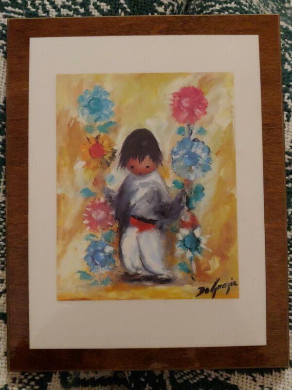 """Vintage Ted DeGrazia """"Vendor de Flores"""" Wood Plaque Print Southwestern Art"""