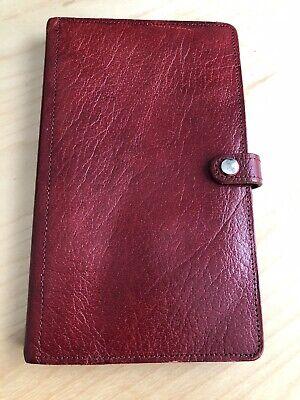 Rare Vintage Filofax Travelfax Calf Leather Made In England Red Euc