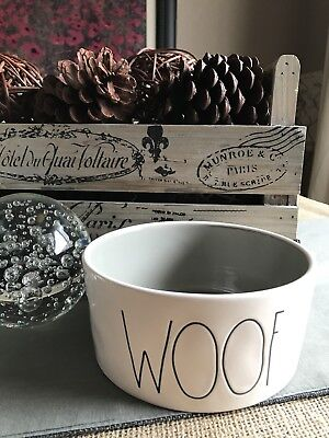 "New XL Rae Dunn Farmhouse ""Large Letter"" Design WOOF Dog Bowl w/ Gray--6"""