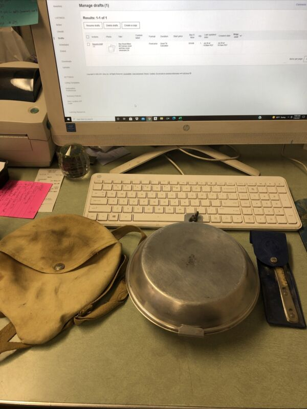 Boy Scout Mess Kit Canvas cover and boy scout silverware      2A