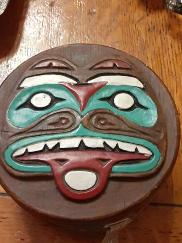 Vintage Nortwest Coast Lombok Java Indonesia Topeng Etnographic Trinket Box