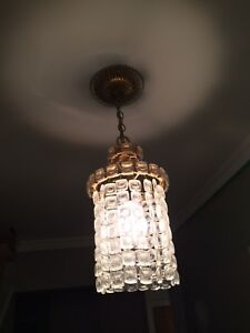 2x French Gold & Glass Pendant Lights