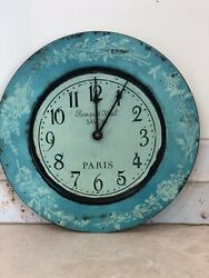 Vintage Style French Country Shabby Distressed Paris Turq. Floral Clock