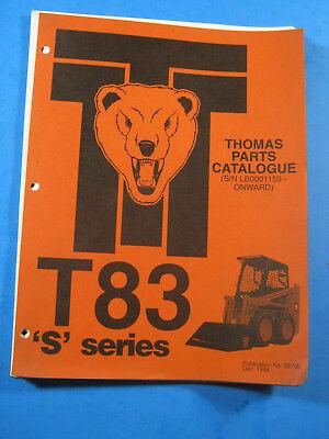 Thomas T83 S Series Skid Steer Loader Parts Catalog Manual 1994 39798 New