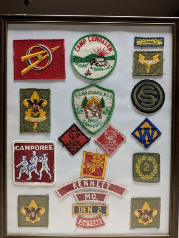 19 Boy Scouts 1968 Badges Missouri Patches Framed Collection       Patches only