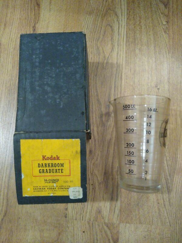 Vintage Kodak Graduated 16 OZ Glass Beaker Photographic Darkroom Developing