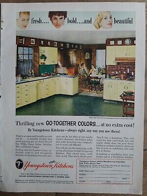 1955 Youngstown Steel dawn yellow kitchen cabinets vintage ad